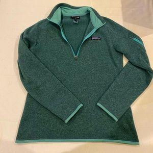 Patagonia better sweater, quarter zip. Green. Sz M